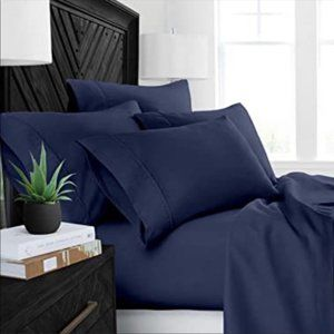Bamboo Sheets 6 piece set Queen Navy Blue